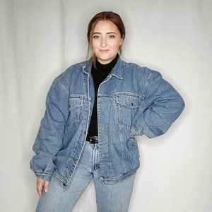 90s Fleece Lined Denim Jacket Oversized Large